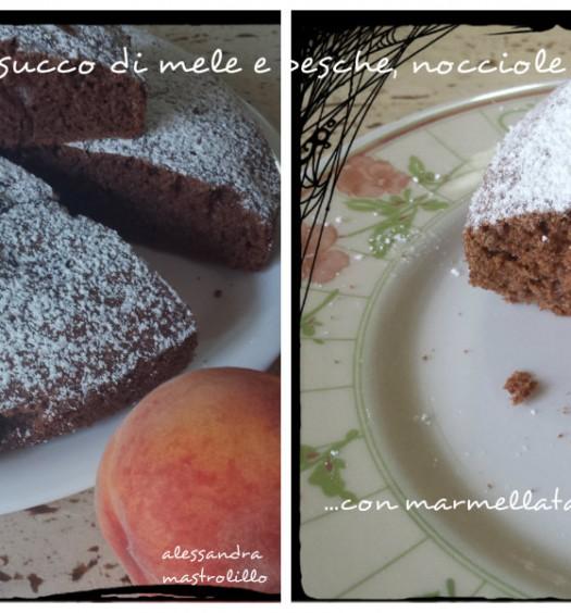 collage torta con cacao succo di mele e pesche uva passa