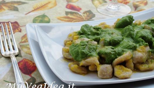 GNOCCHI DI FAVE E SEMOLA con pesto di spinaci