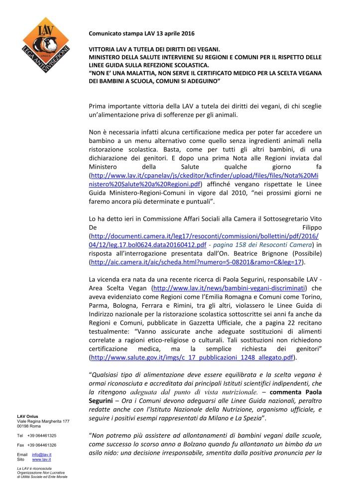 LAV - Comunicato Stampa 20160413 - Mense Scolastiche Veg_01